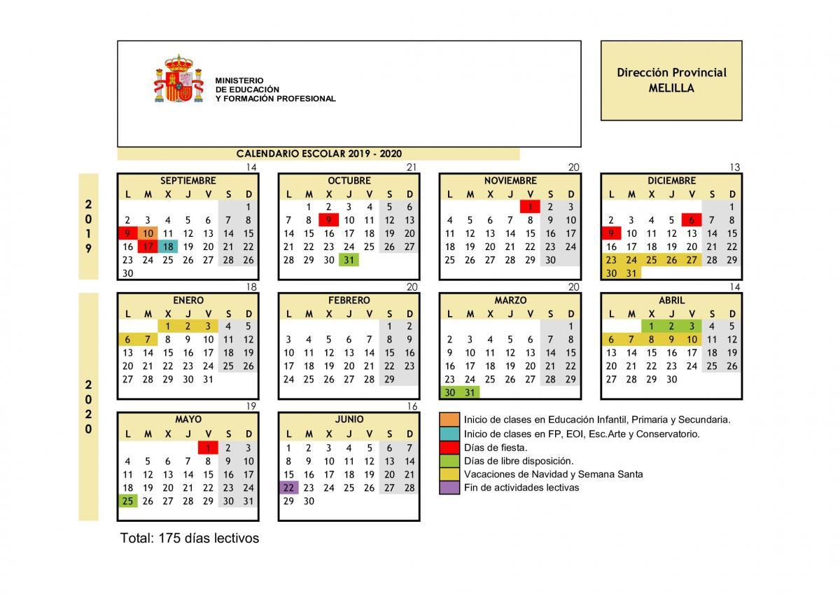 Calendario Escolar 18 19 Cantabria.Federacion De Ensenanza De Melilla