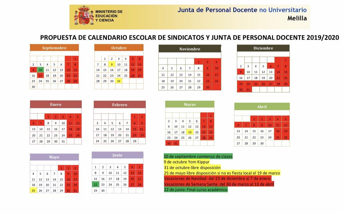 Calendario Escolar 2020 Aragon.Federacion De Ensenanza De Melilla