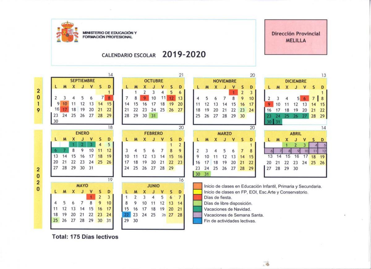 Calendario Catalunya 2020.Federacion De Ensenanza De Melilla